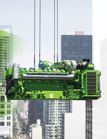 One of four Jenbacher J620 gas engines being lifted by crane into place for the Hudson Yards project in New York City. Photo courtesy: GE