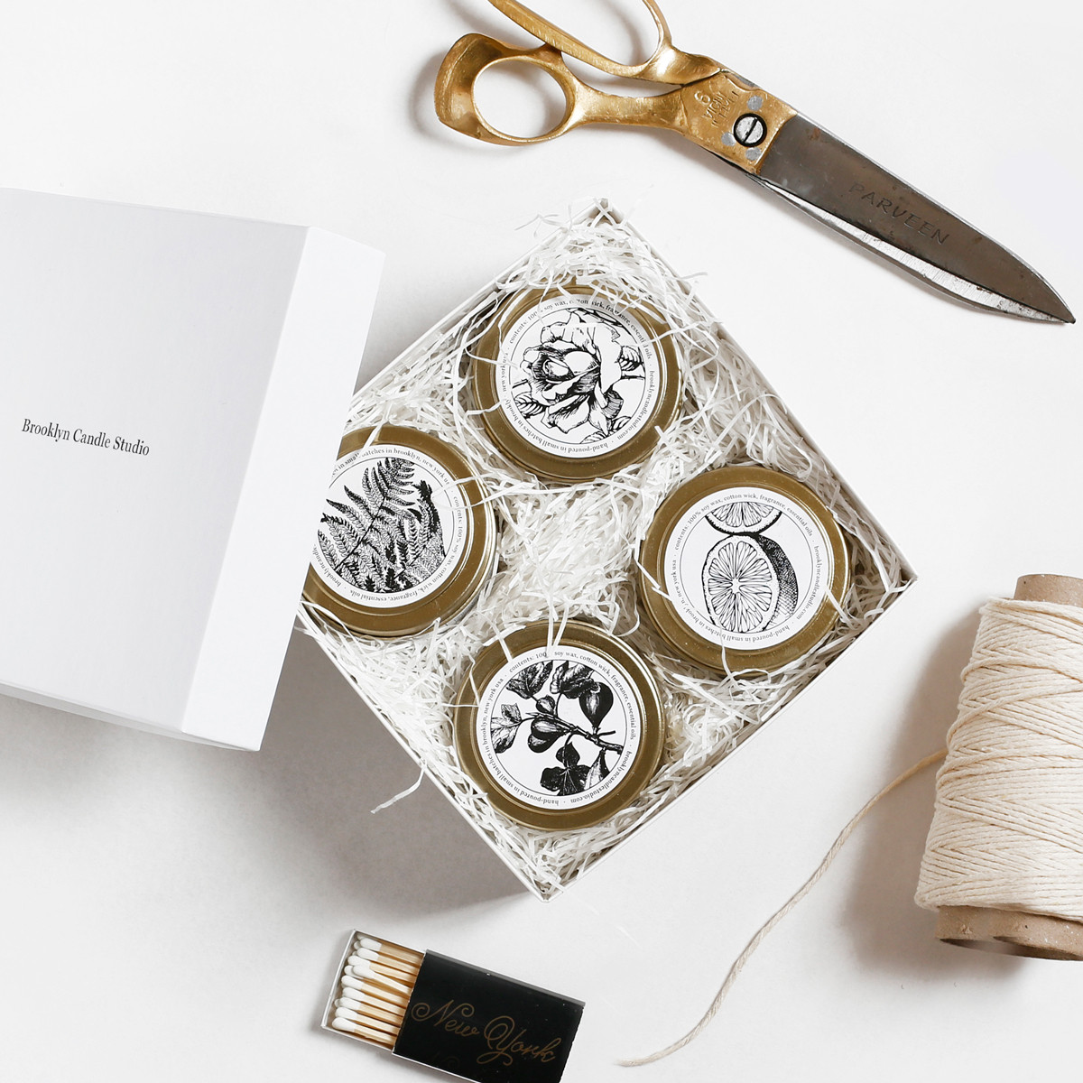 B  rooklyn Candle Studio | Pick 4 Gold Travel Candles Boxed Set $55