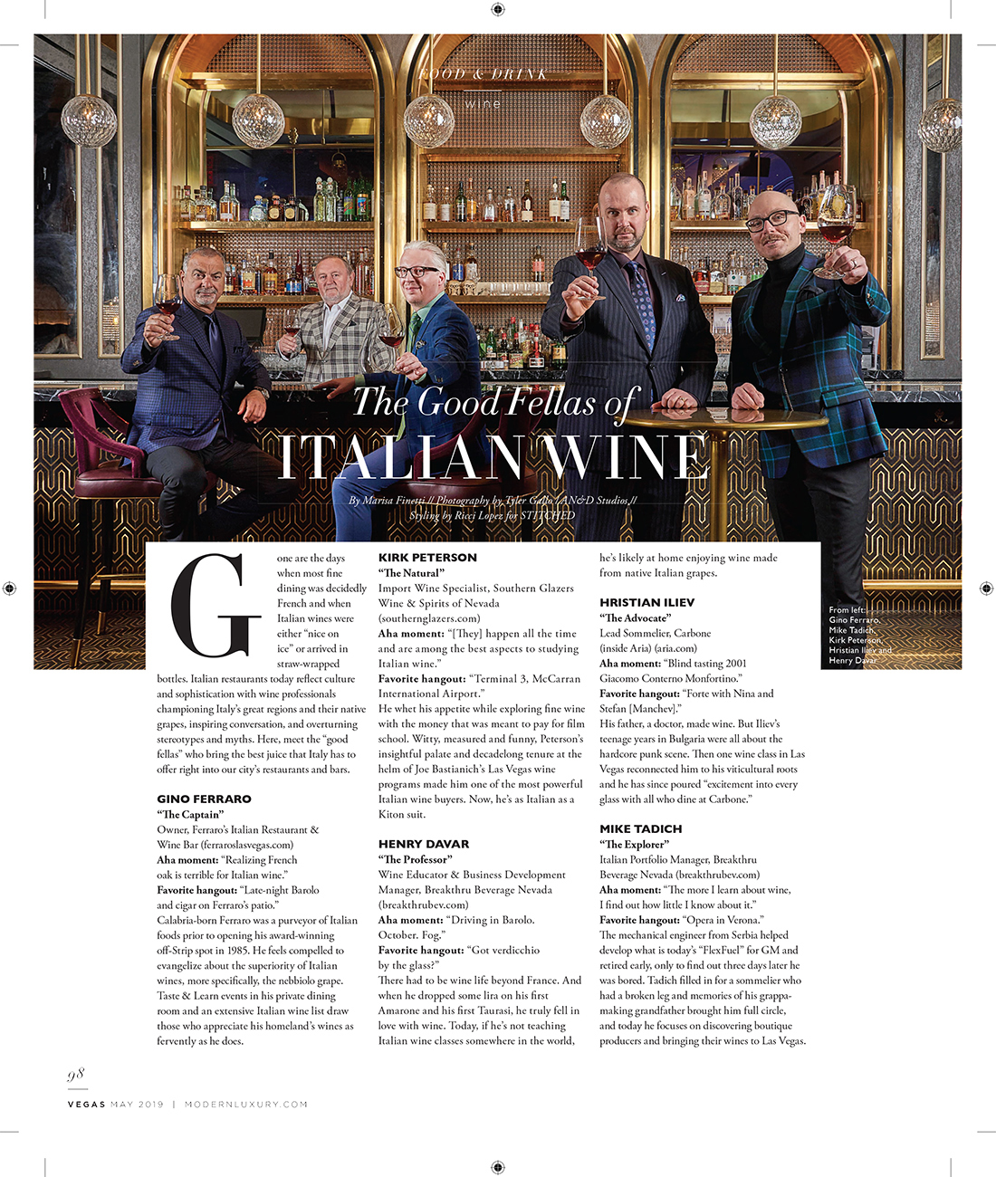 VEGAS MAGAZINE | THE GOODFELLAS OF ITALIAN WINE | MAY 2019