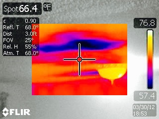 EXAMPLE: CEILING LEAK DETECTED BY INFRARED THERMAL IMAGING CAMERA