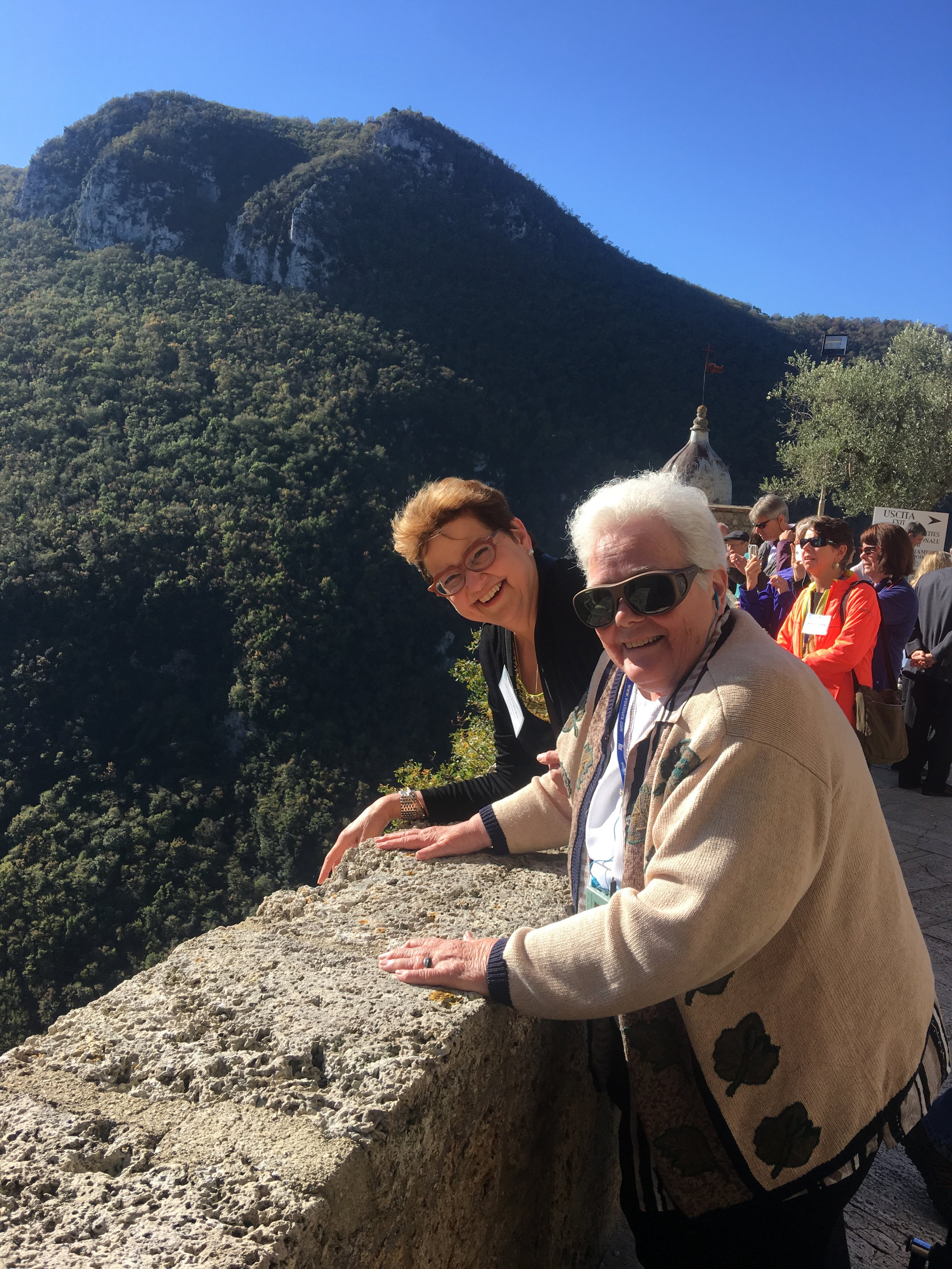 Mary Prybylo, MSN, President and CEO of St. Joseph Hospital, and Sr. June Ketterer, SGM, enjoy the view from the Abbey of San Eutizio in Umbria. The Covenant group learned about the history of Benedictine monks who lived here and developed microsurgical techniques that were later taught to lay medical professionals.