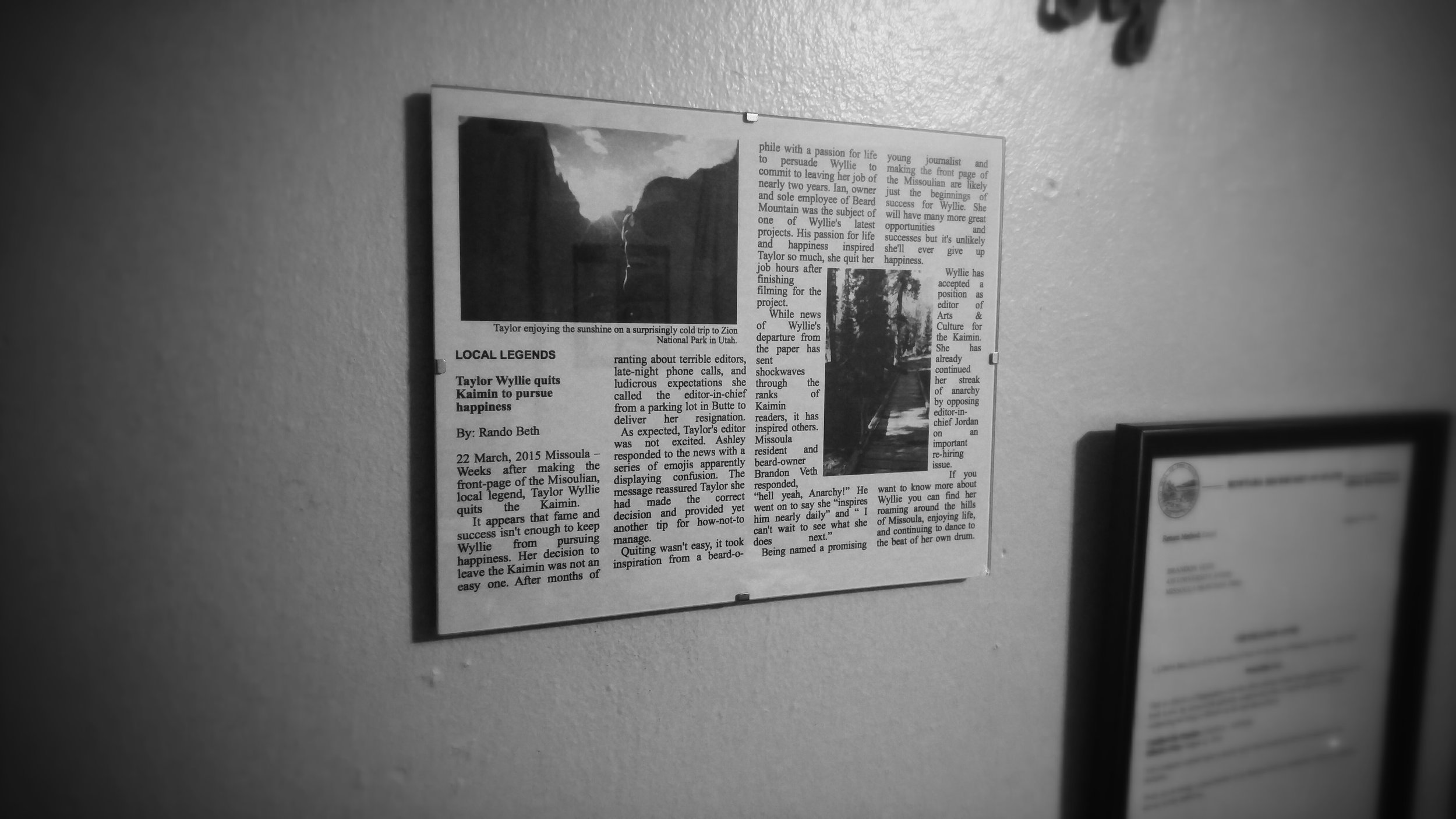 """The """"First Feature"""" still hangs on the wall of Taylor's apartment for her to look at whenever she's having a bad day or needs inspiration."""
