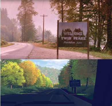 Fig 1. Comparative shots of opening montage tableau from  Twin Peaks  (top) and early scene from  Virginia  (bottom).