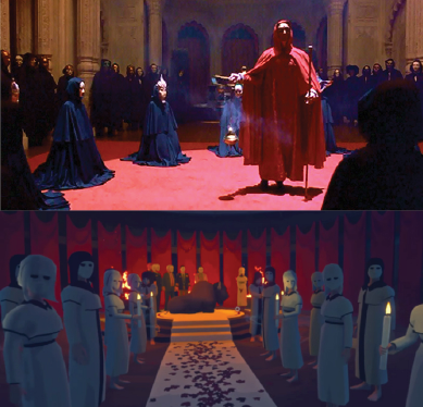Fig 2. Comparative shots of cult/ritual scenes in  Eyes Wide Shut  (top) and  Virginia  (bottom).