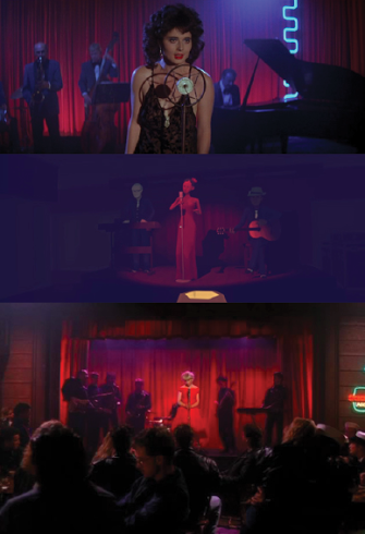 Fig 3. Comparative shots highlighting the cabaret singer in scenes from  Blue Velvet  (top)  Virginia  (middle) and  Twin Peaks  (bottom).