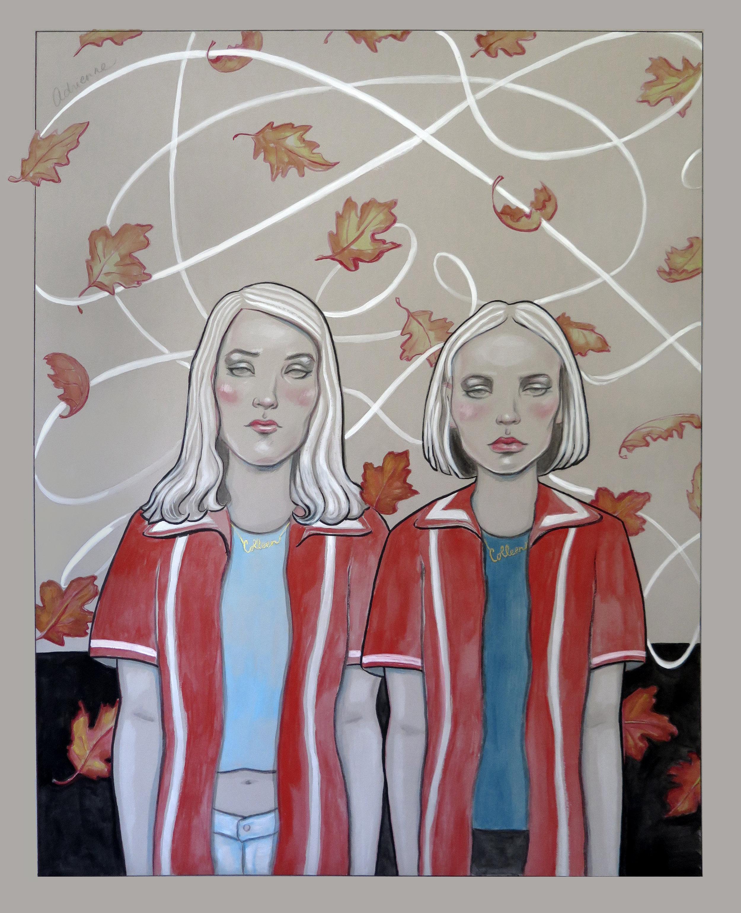 Harley Quinn Smith and Lilly Rose Depp in Yoga Hosers.   Gouache, ink, pencil on board. Commissioned painting for the set of Kevin Smith's Comic Book Men.