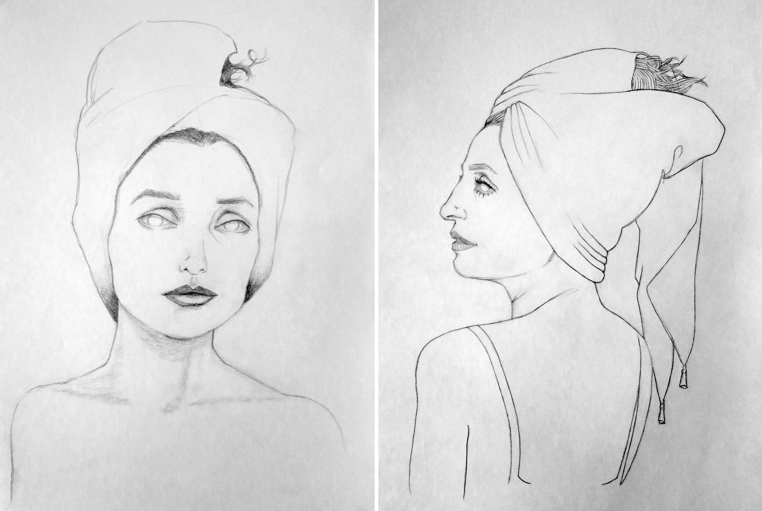 "Aurora in a Turban.   8.5""  x 12.5"" Pencil on paper $50.00 unframed. DM me for inquiries."