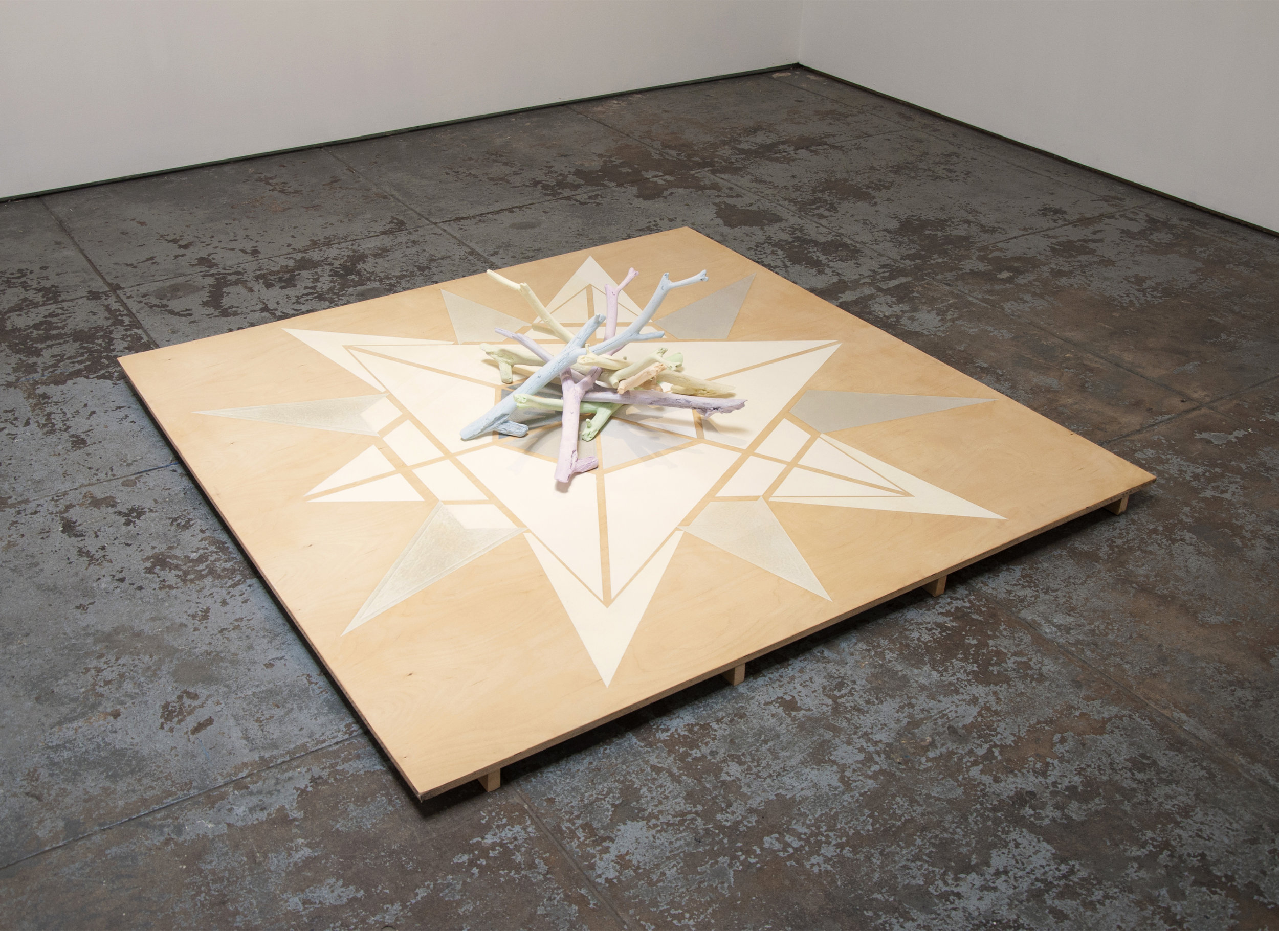 Dodecagram floor painting & Bundle of cast branches