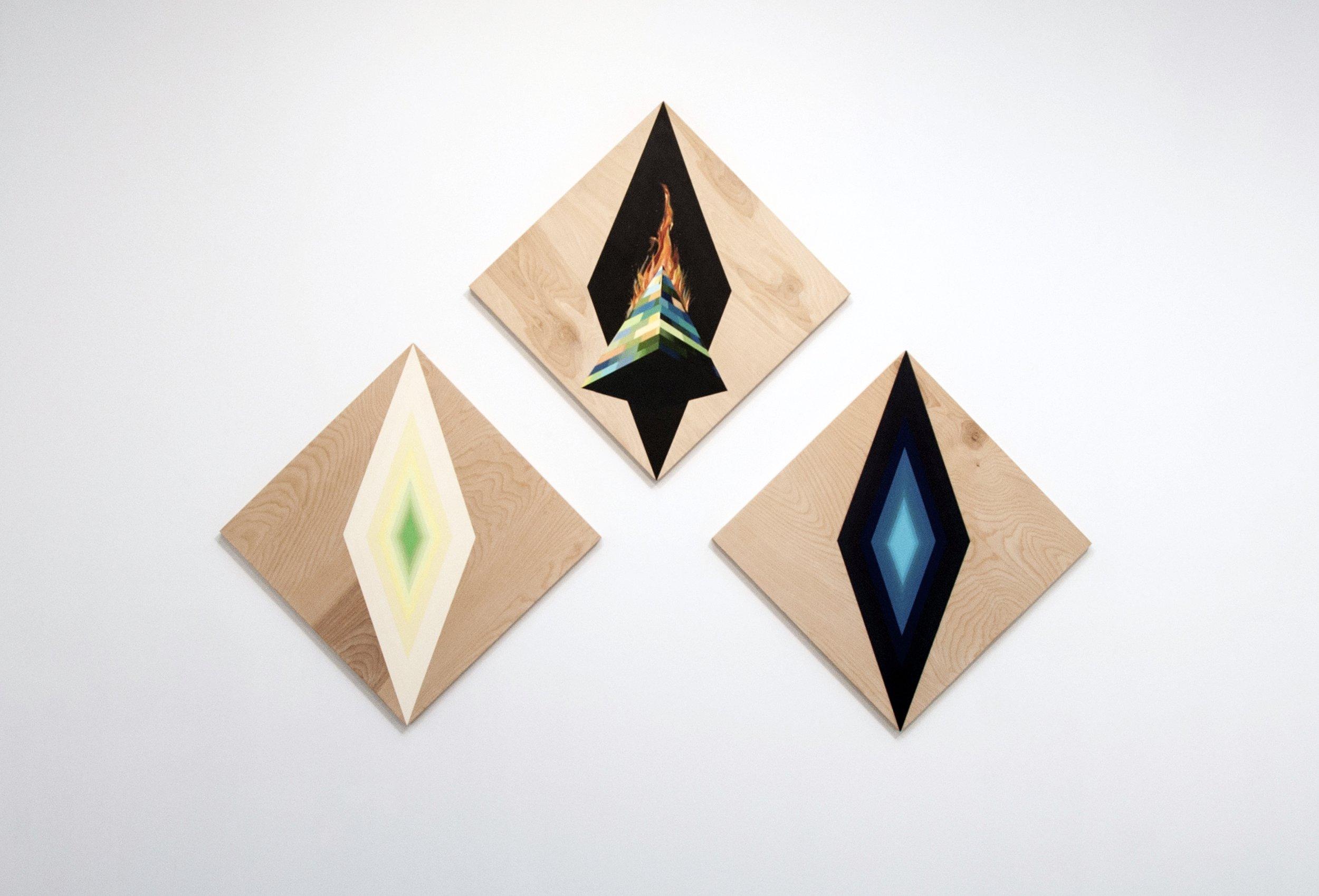 Obelisk on fire (Triptych)