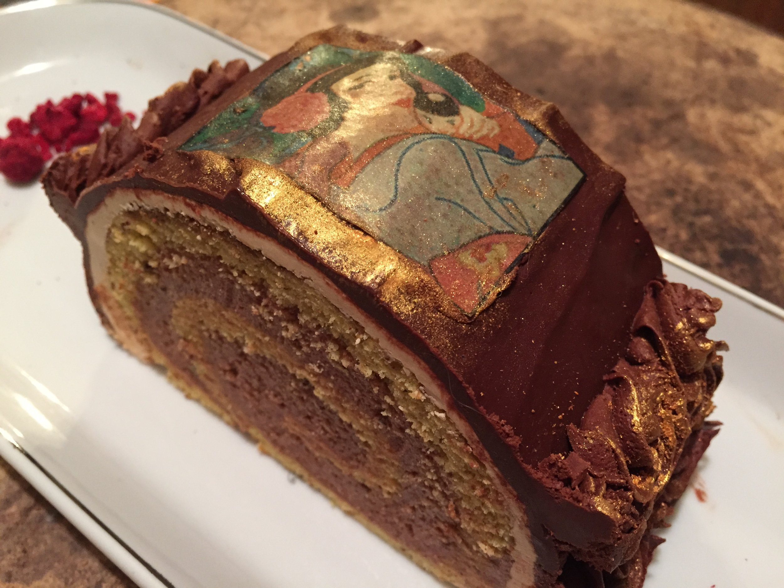 A perfect example of genoise in a Nutella Swiss Roll cake.