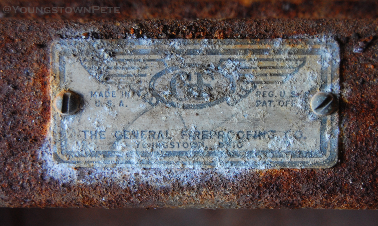 Struthers, O.  General Fireproofing steel desk. Slightly corroded. Made in Youngstown