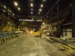 """Floor view looking North to the Coiler area. You can see the overhead Crane that I operated for 23 years."""