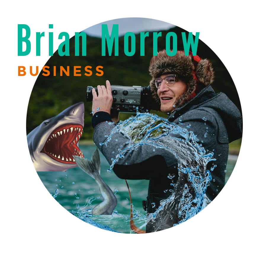 "BRIAN MORROW   Brian's photo is the one you will find next to the term ""creative genius"" in the dictionary. The primordial mad scientist of videography, he could have been the model for Christopher Lloyd's character in Back to the Future. Brian possesses an encyclopedic knowledge and a scientific brain that bounces from left to right and back to left again when he's working on something, which is all the time.   sharkpig.com"