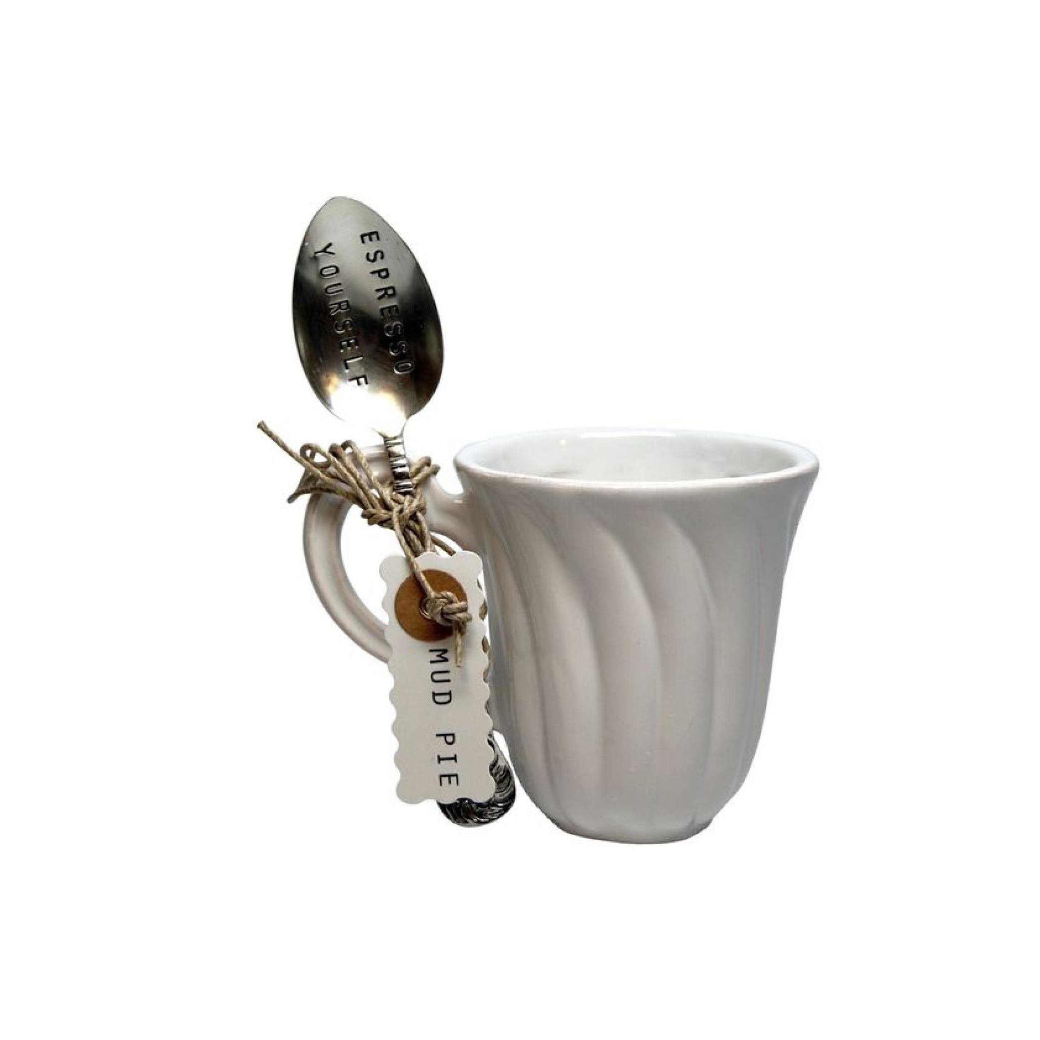 "Mud Pie ""Espresso Yourself"" Coffee Mug and Spoon Set $16.95   Wants 1 Has 0 Needs 1"