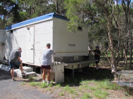 Joe, Rhino n Bob measuring the mens loo.JPG