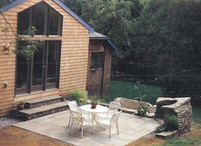 Stone fireplace, stone steps and bluestone patio