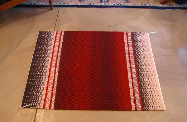 Skip Twill Weave Rug with Flamepoint Pattern