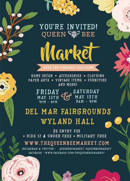 """Friday, May 12, 2017 4:00PM-9:00pm  Saturday May 13, 2017 9:00AM-4:00PM  """"There is a $5 entrance fee for the market. Tickets are sold at the door. Kids 12 years old and younger are free and military are free as well. Thank you for your service!""""  """"The QBM has a range in products- accessories, home decor, jewelry, art and more. It has been described as """"Etsy come to life"""" with an emphasis on amazing booth displays.We consider the Market to be a current, on trend, girly, fun, and unique.  We're more ruffles and modern than skulls and bones but not quite tole painting either. """""""