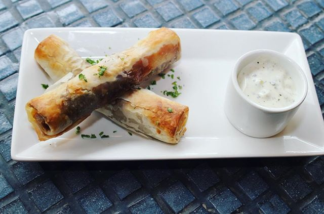 🤔Have you experienced our tasty Beef Cigar?🌯 A flaky pastry stuffed with ground beef, pine nuts, Lebanese muhama, with cucumber yogurt sauce. Noms! 😋 #BaboushDallas