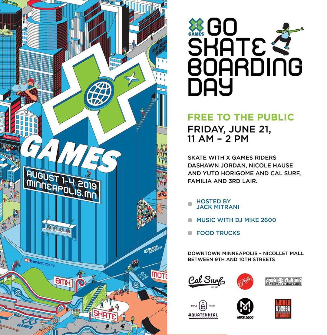 Join is next Friday June 21 from 11am - 2pm in downtown Minneapolis to skate some custom features with X Games athletes  @dashawnjordan   @nicolehause  and  @yutohorigome