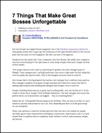 7 Things That Make Great Bosses Unforgettable (Dr. Travis Bradberry)