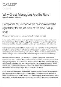 Why Great Managers Are So Rare (Gallup, Inc.)