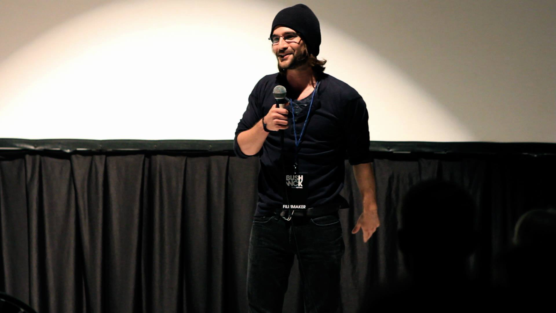 Writer/Director of 'Roxie' speaking on opening night of Bushwick International Film Festival.