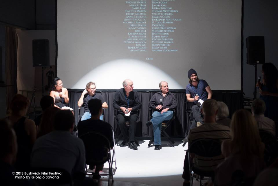 From the left, Editor Tiffany Cruz, Cinematographer Michael Locke, lead actors David Usner and Joel Roth, and Writer/Director Nick Frangione speaking after the premiere of 'Roxie.'