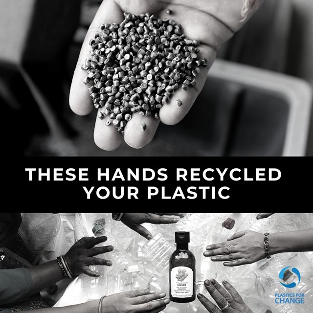 What did you use your hands for today?  In India, waste-pickers collect discarded plastic every day. A plastic bottle someone collects will travel through a recycling chain. Then after various touchpoints, it might end up in a Body Shop shampoo bottle, where someone like you will pick it up.  Knowing the people behind your plastic makes you a global and ethical consumer. This not only feels good but you support the wider world & our environment.  #plasticsforchange