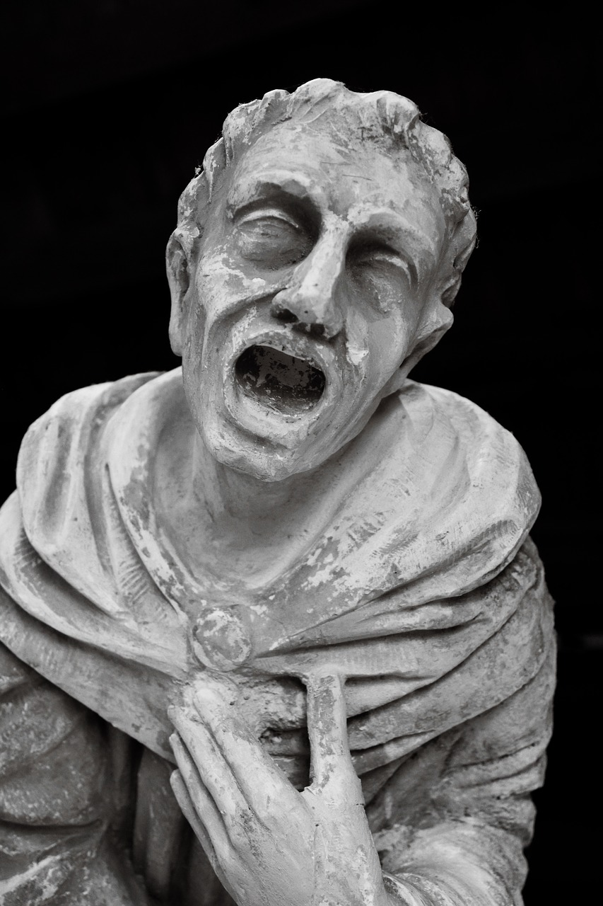 Pictured: statue of a man trying to figure out a rye mash bill.