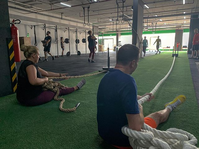 FIREFIGHTERS IN TRAINING Rope pulls, seated or standing, are a sure fire way to get the lats burning. • • •