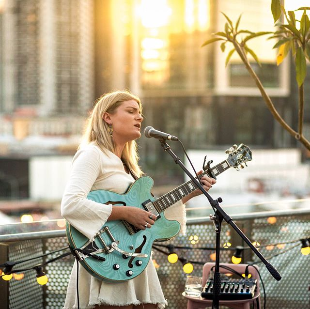 That time I got to shoot the amazing @keeleyconnolly play a live set at @alexhotelperth on the rooftop. I was blessed with a beautiful glow as the sun was setting down behind keeley. 📷 @martin_callow