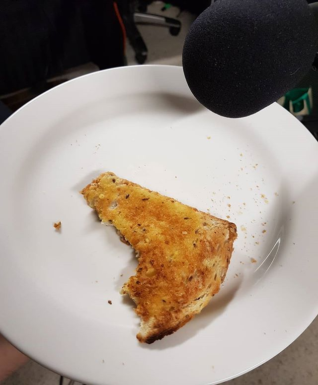 """The script called for """"biting of toast FX"""" what was I supposed to do?  #toast #podcast #foley #audioFX #AudioDrama #GonnaNeedAnotherTakeHereAndSomeCoffee"""