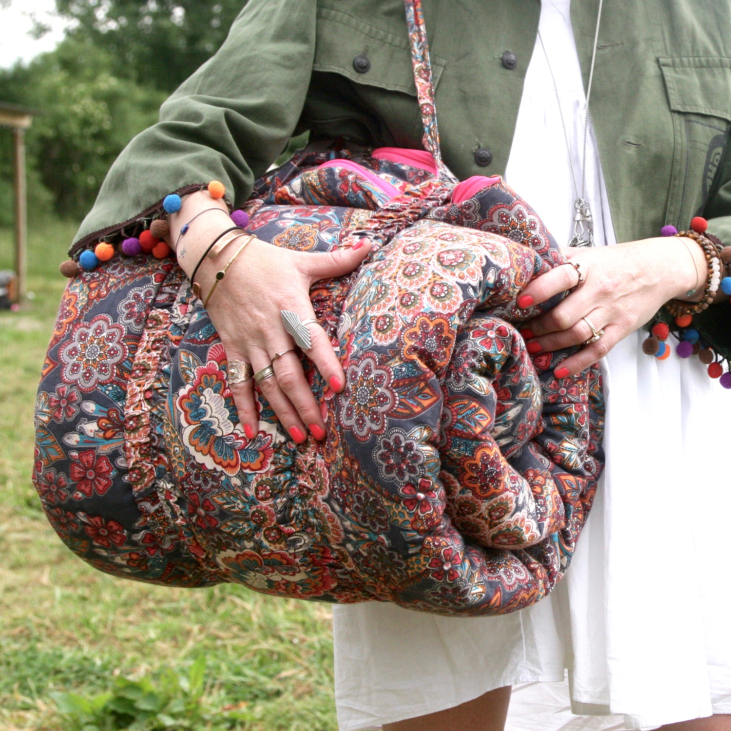 Sleeping Beauties Indian Tapestry Rolls Into A Bag