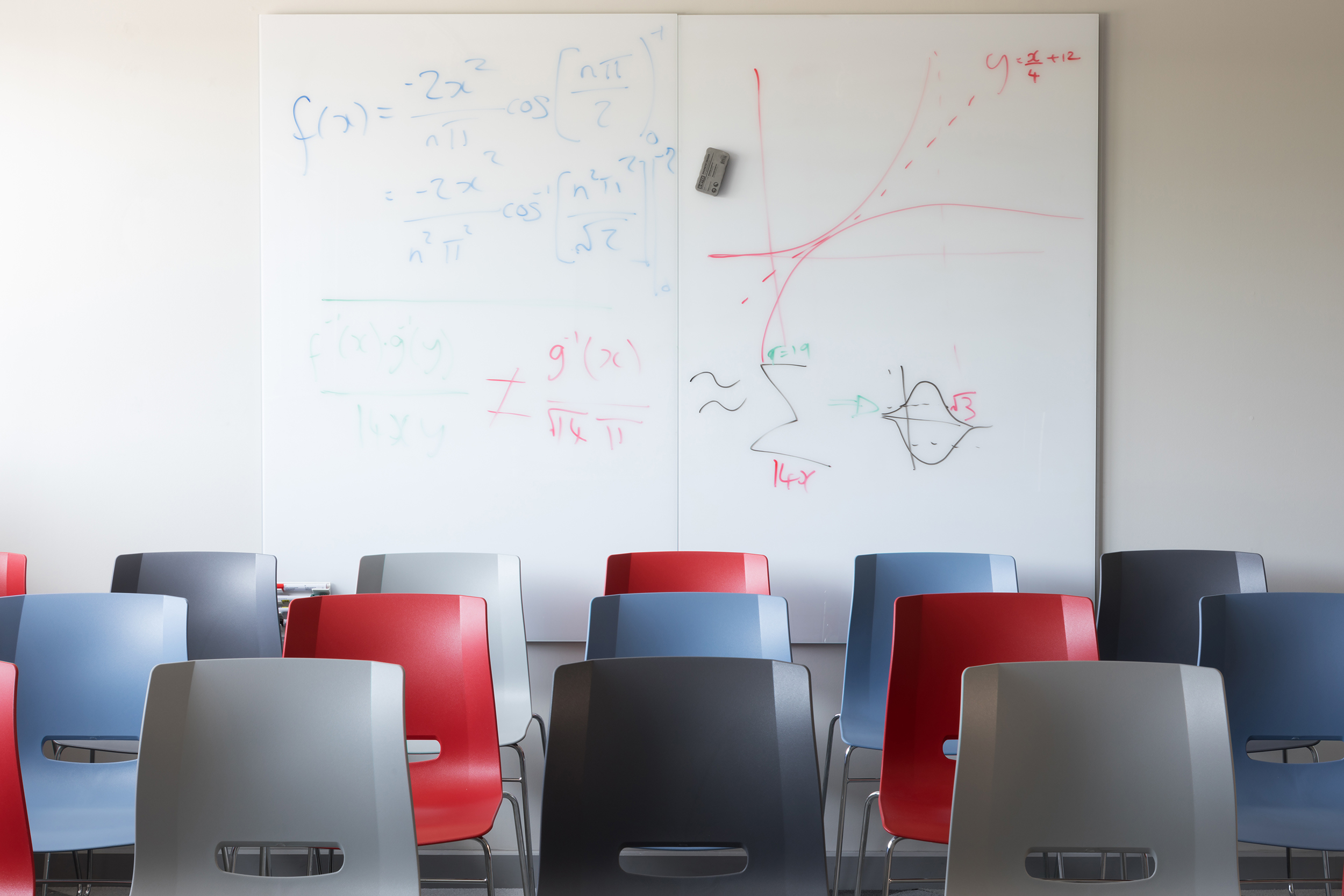 Whiteboards for those Eureka moments are a key aspect of the design. - The whiteboards allow mathematical analysis to be spread out over many metres. This aspect of the work is top secret so sadly we can't share photos of them.