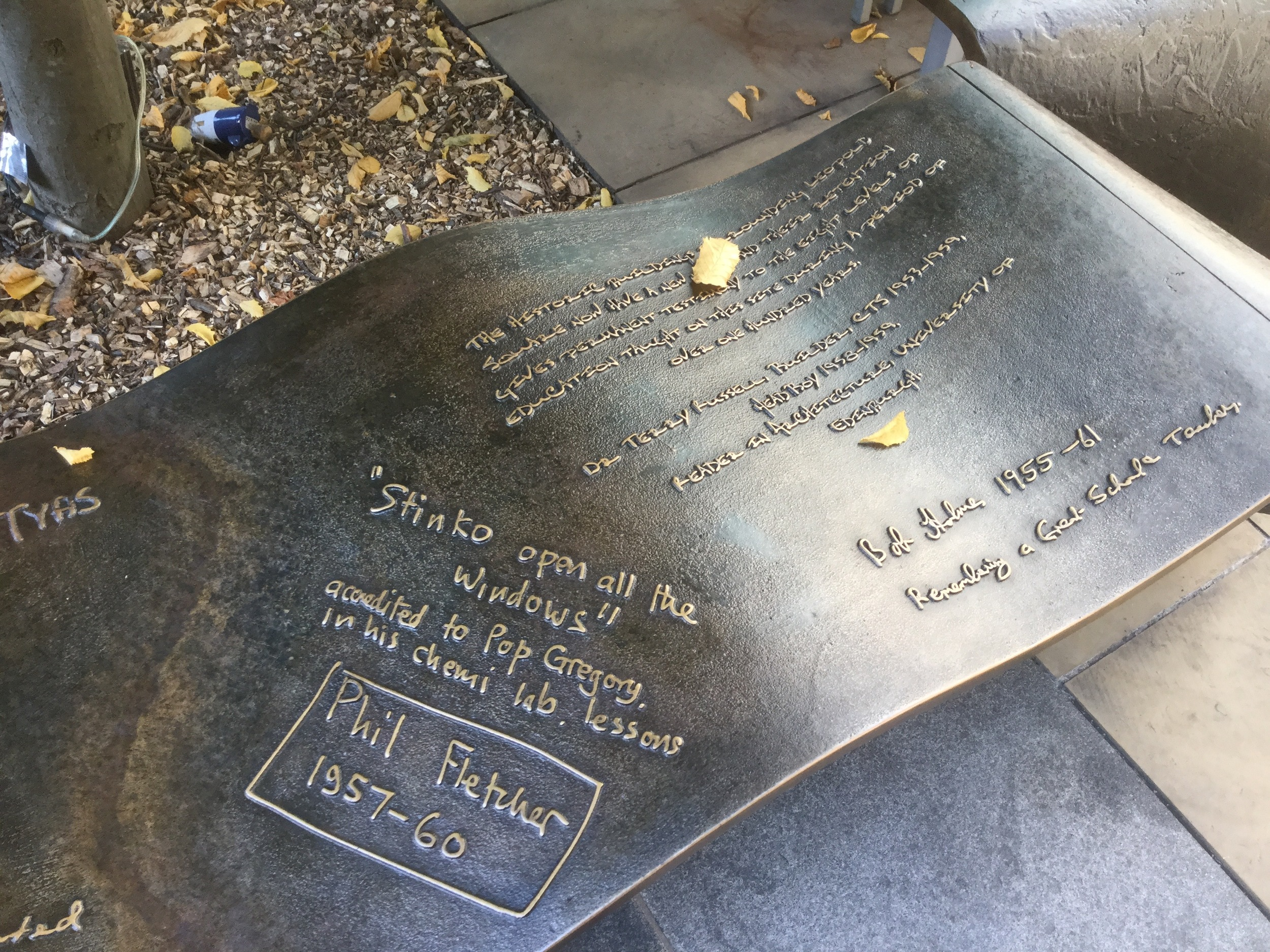 LEOPOLD SQAURE   Hand written statements or drawings modelled and cast into the bronze seating units.