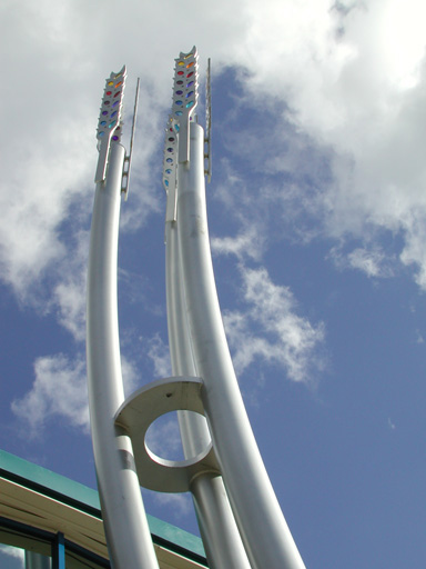 THE WORD   16m beacon - re-sited at the entrance of the new City Hospital