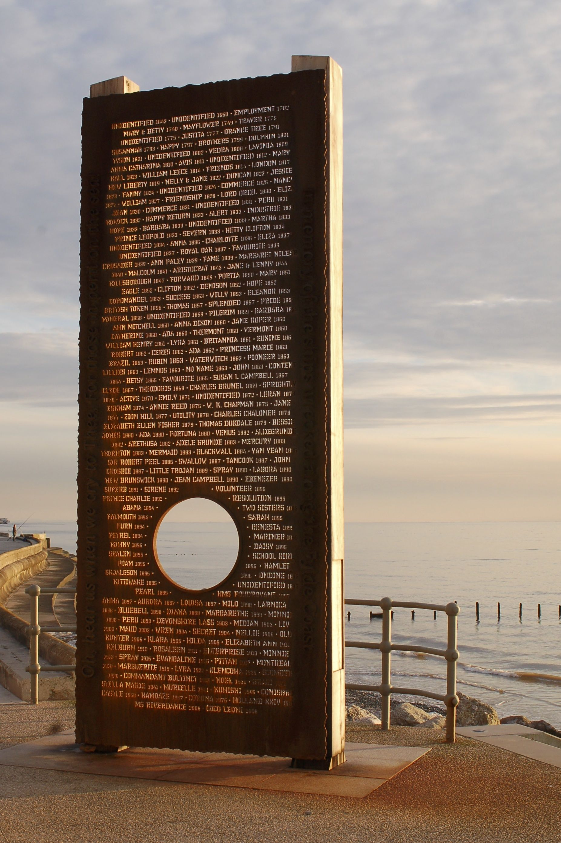 FYLDE SHIPWRECK MEMORIAL   4.6m tall 'wall of words' positioned end of promenade