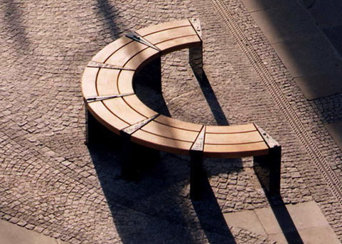 WARRINGTON -  WEDGE SEAT  Modular Oak and bronze seating units