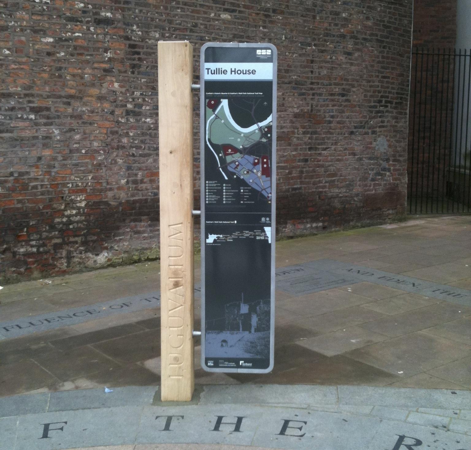 CARLISLE -  WAYFINDING  Enamel information panels with oak posts