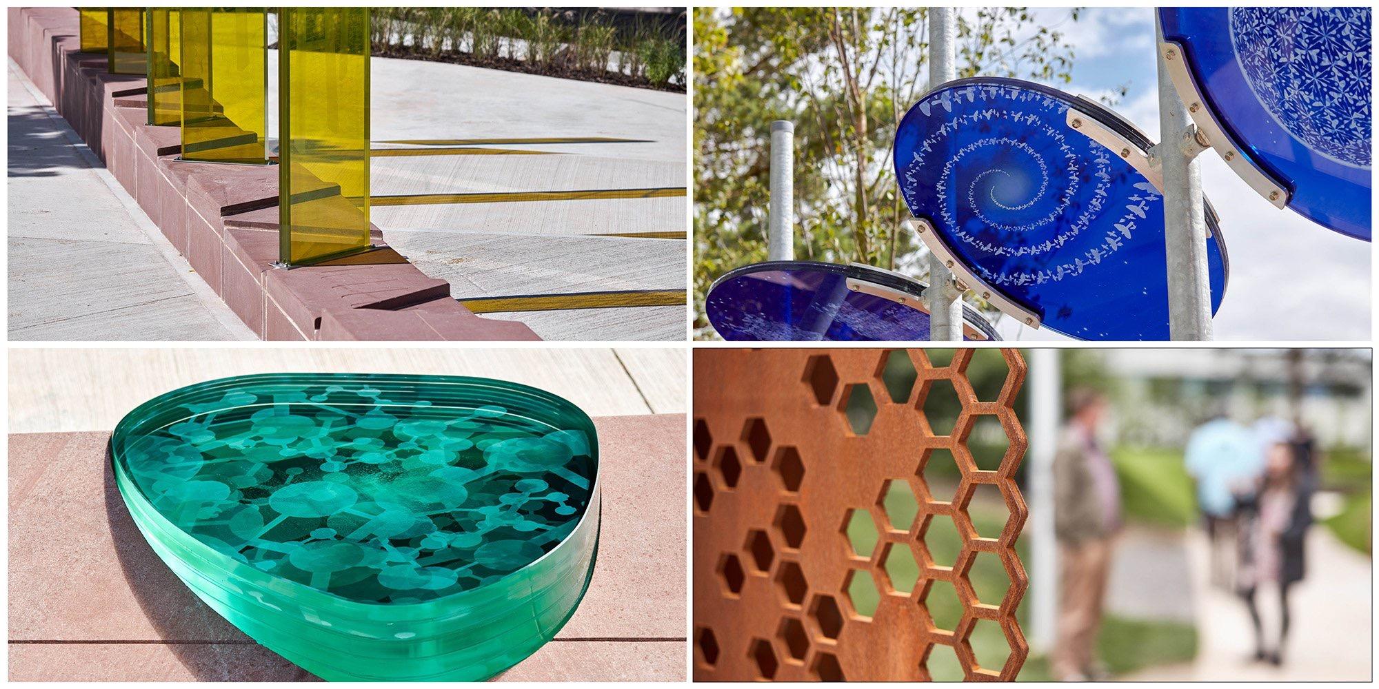 DARESBURY - LINEAR GARDEN   5 coloured sculptural gardens