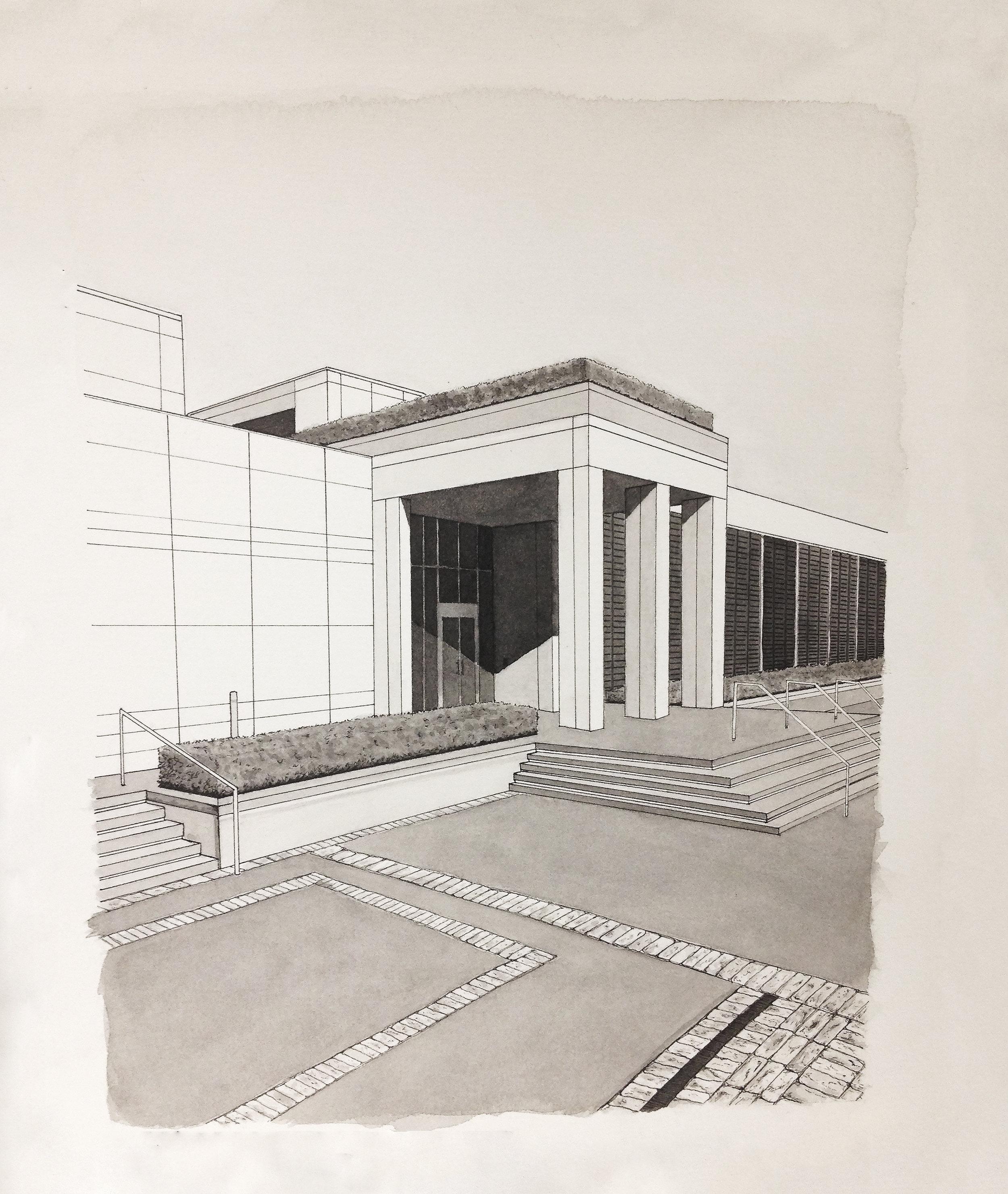SCAD Museum of Art. Ink wash.