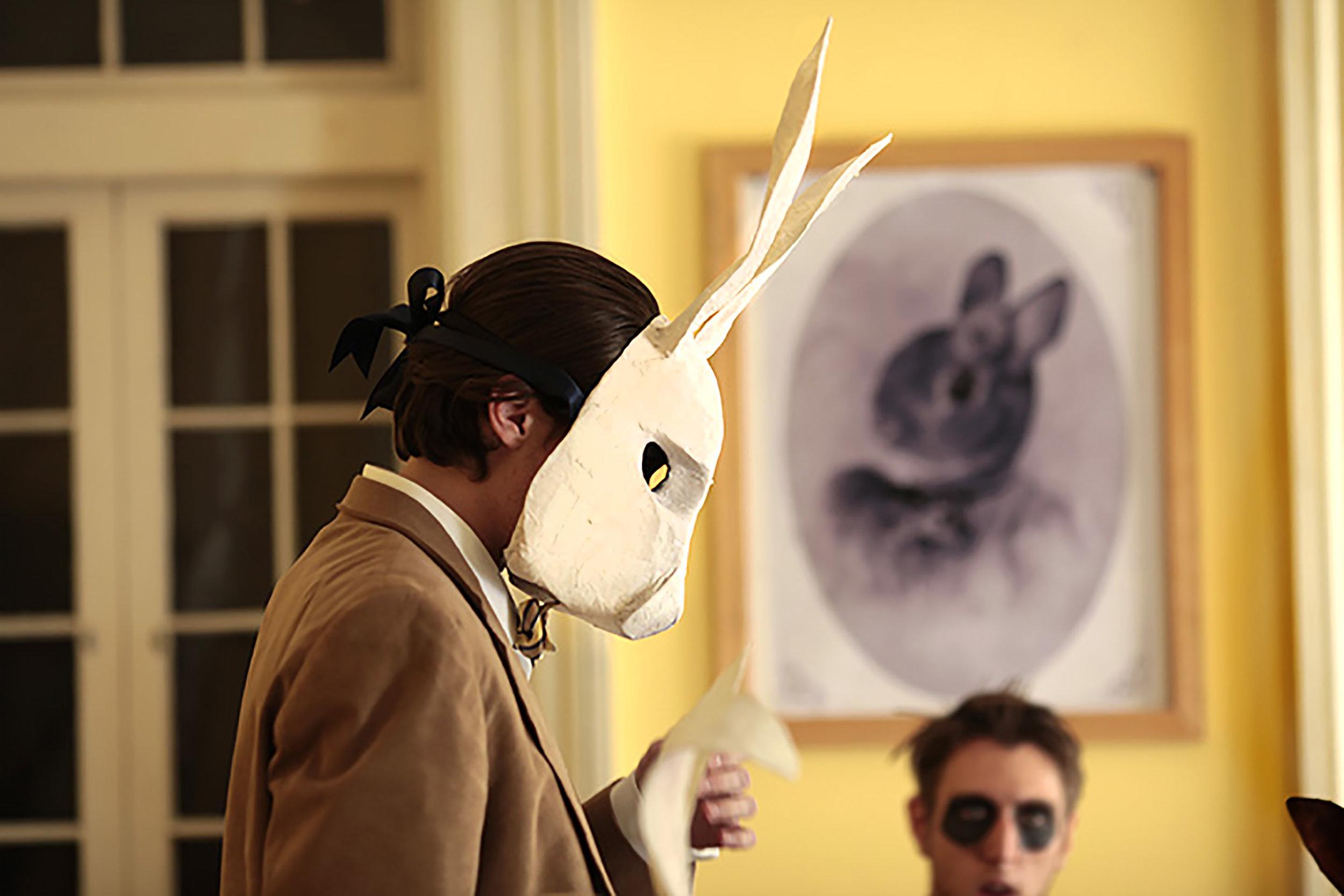 Mr. Rabbit looks over script - Party Animals  (2015)