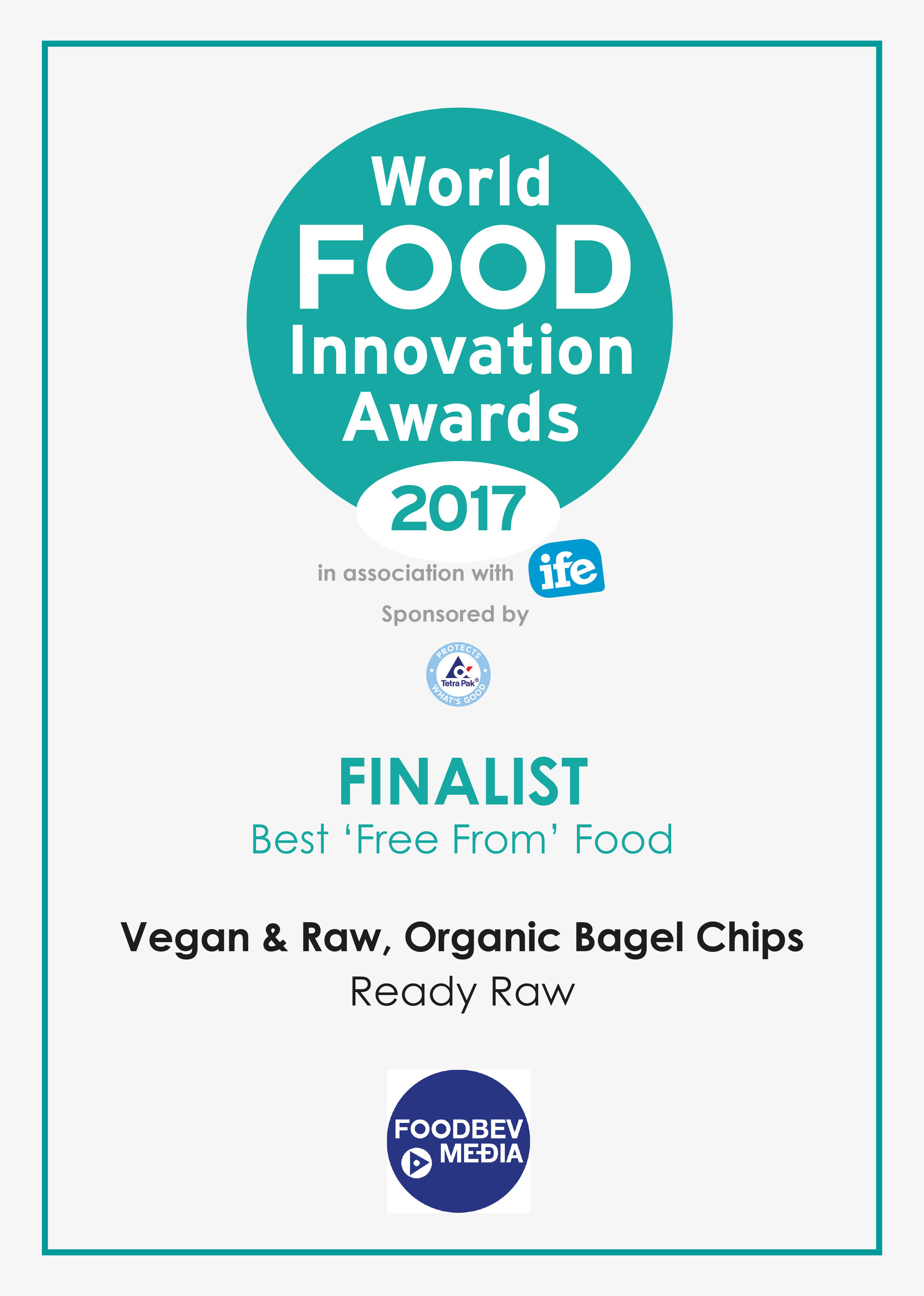 Our vegan and organic raw sprouted bagels and mini bagel chips were finalists in the World Food Inovation Awards 2017