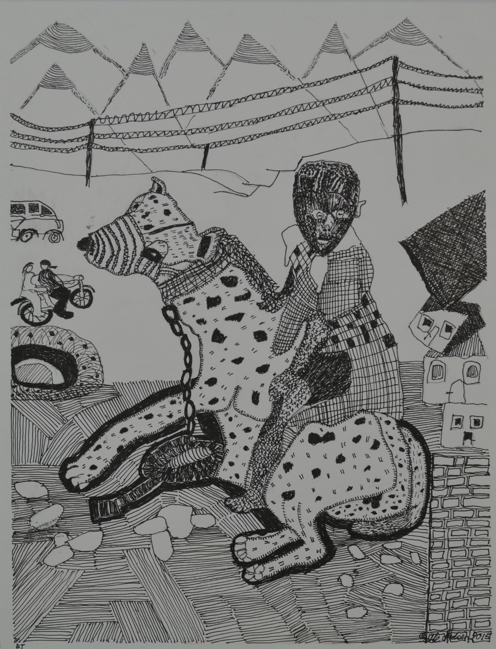 """The girl on the Hyena"" 33 x 43 cm"