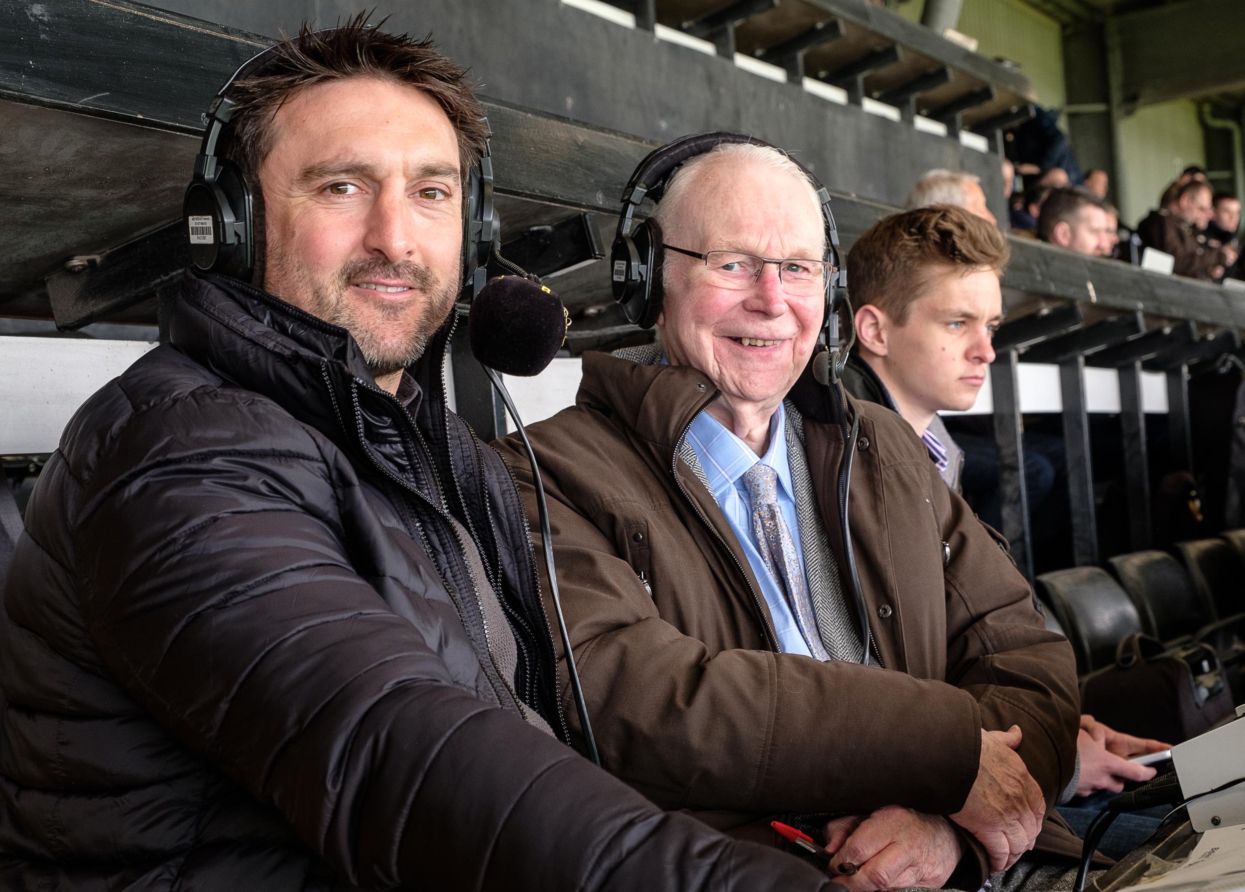 Colin Slater pictured with ex Notts striker and summariser Mark Stallard