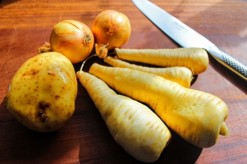 Base of your soup -onion, potato and parsnips