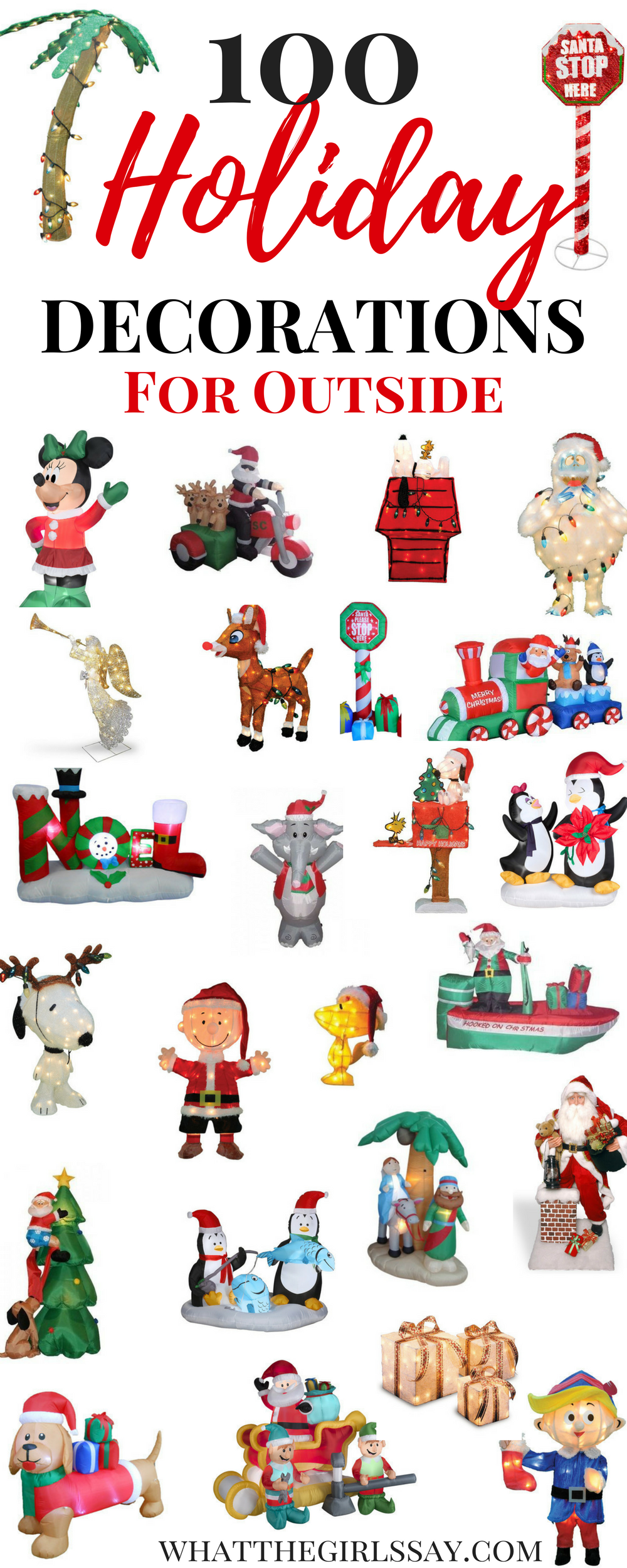 Christmas Outdoor Decor - Looking to spruce up your front yard this holiday season? Here are some fun Holiday Outdoor decorations to create that perfect Christmas Front Yard look!  These Christmas Outdoor Decorations are so fun, your yard will be the talk of the town this Christmas Season!