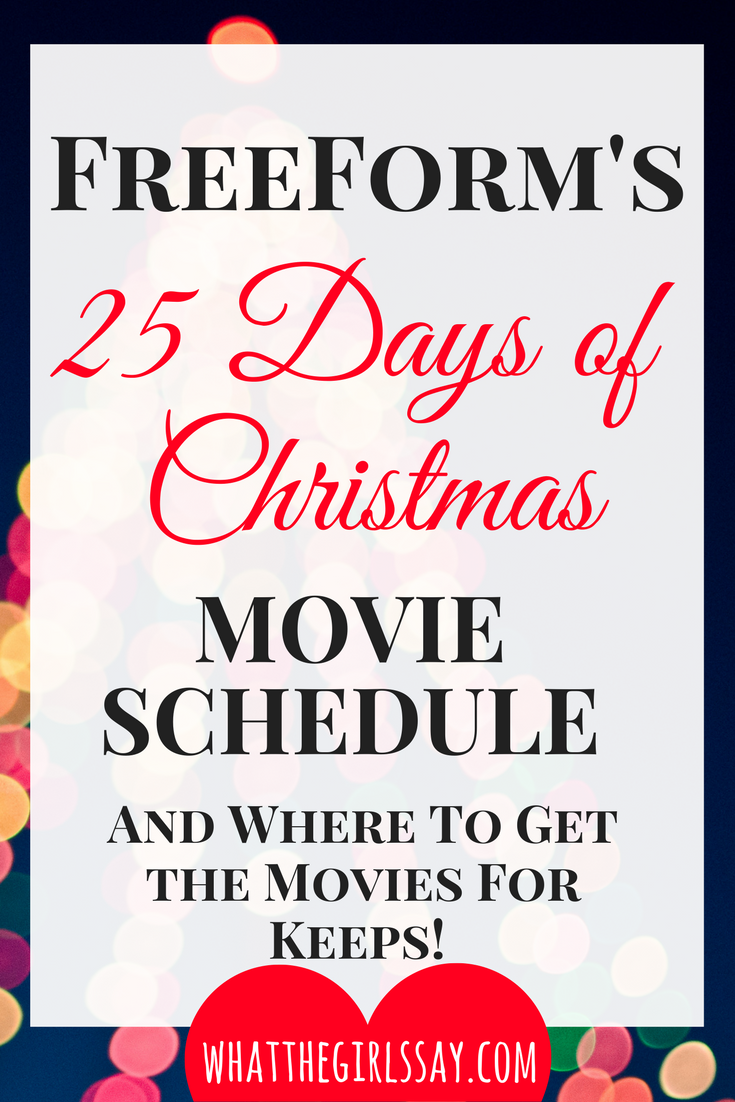 FreeForms 25 Days of Christmas Schedule - Best Holiday Movies of the Season - Christmas Movie Night - Make it a date night as you watch these top Holiday movies of the year!