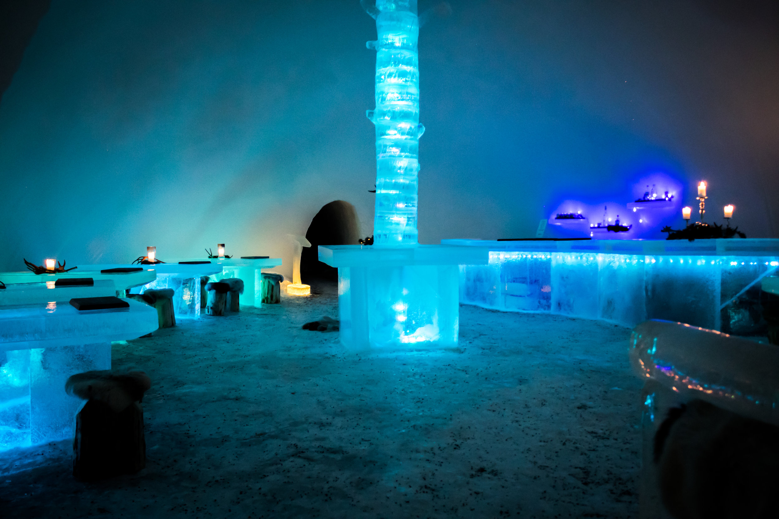Northern Lights Village - igloo hotel Saariselka Finland, Lapland. Best places to stay in Lapland Finland  ice restaurant ice bar tour things to do in Lapland Finland